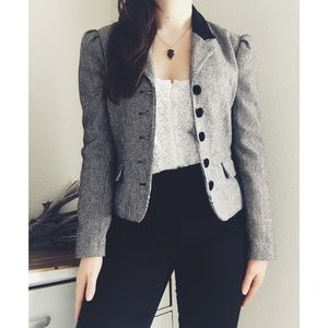 V I N T A G E  》Black and White Button Blazer
